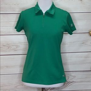 The North Face Green Zip Waffled Polo Small